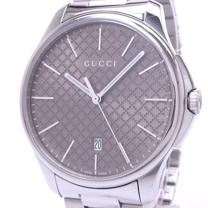 【中古】GUCCI Gタイムレス メンズ腕時計 デイト クォーツ SS ブラウン文字盤 YA126317/126.3