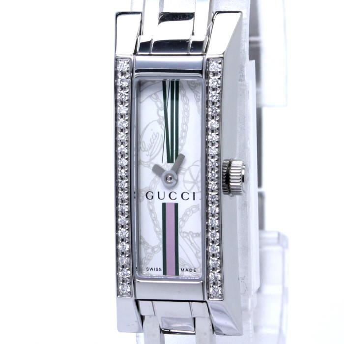 【中古】GUCCI Gリンク 36Pダイヤベゼル レディース腕時計 クォーツ SS ホワイト文字盤 YA110508 110