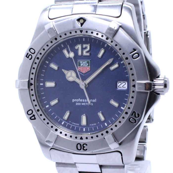 【中古】TAG Heuer プロフェッショナル 2000シリーズ ボーイズ腕時計 クォーツ SS ネイビー文字盤 WK1113