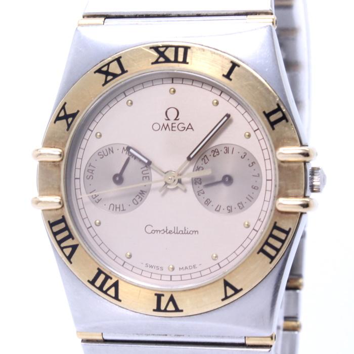 【中古】OMEGA コンステレーション メンズ腕時計 デイデイト クォーツ SS/K18 シャンパンゴールド文字盤 1420.10