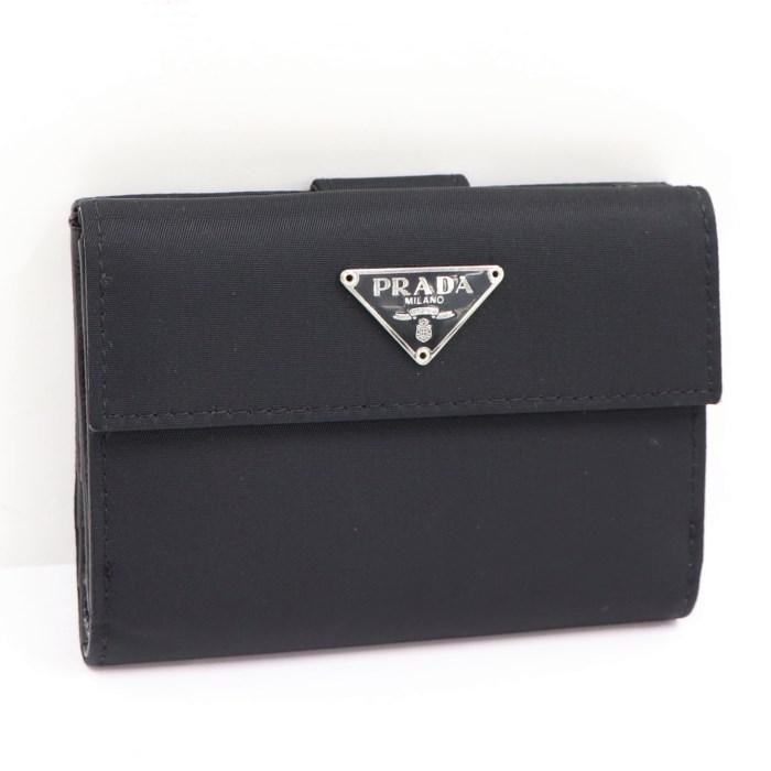 【中古】PRADA Wホック二つ折り財布 ナイロン 三角プレート ブラック M523