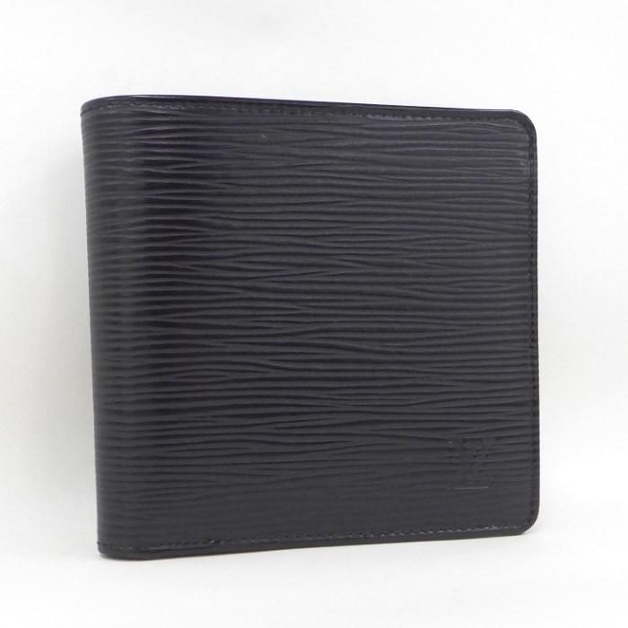 【中古】LOUIS VUITTON ポルトフォイユマルコ 二つ折り財布 エピ ノワール M60612