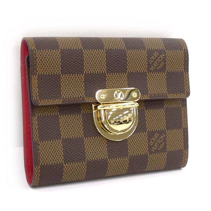 【中古】LOUIS VUITTON ポルトフォイユコアラ 三つ折り財布 ダミエ エベヌ N60005