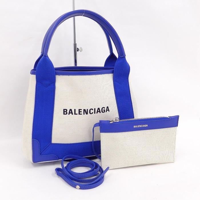 【中古】BALENCIAGA ネイビーカバスXS 2WAYショルダーバッグ キャンバス ベージュ/ブルー 390346