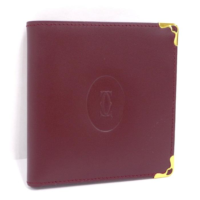 【中古】 Cartier 二つ折り財布 マストライン ボルドー/ワインカラー レザー L3000451