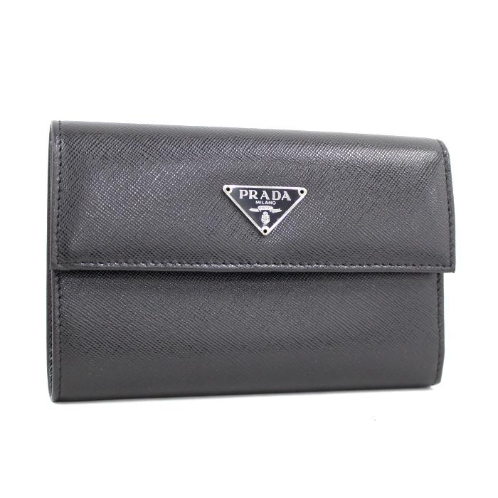 【中古】 PRADA 三つ折り長財布 ネロ/黒 サフィアーノレザー M510A