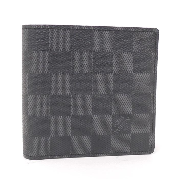 【超目玉】 LOUIS VUITTON 二つ折り財布 ポルトフォイユマルコ ダミエ グラフィット/グレー N62664, ウクレレぷあぷあジャパン fdc8c8fc