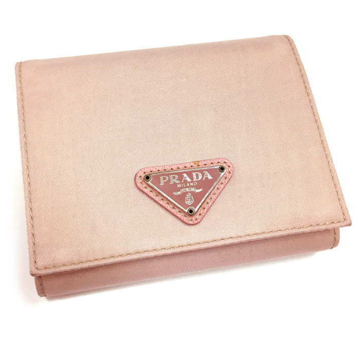 【中古】PRADA 三つ折り財布 ナイロン ピンク M176