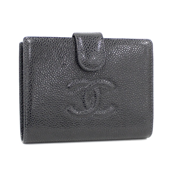【中古】CHANEL 二つ折りがま口財布 コンパクトウォレット キャビアスキン ブラック A13497