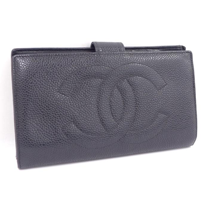 【中古】CHANEL 二つ折り長財布 がま口 キャビアスキン ココマーク ブラック A01429