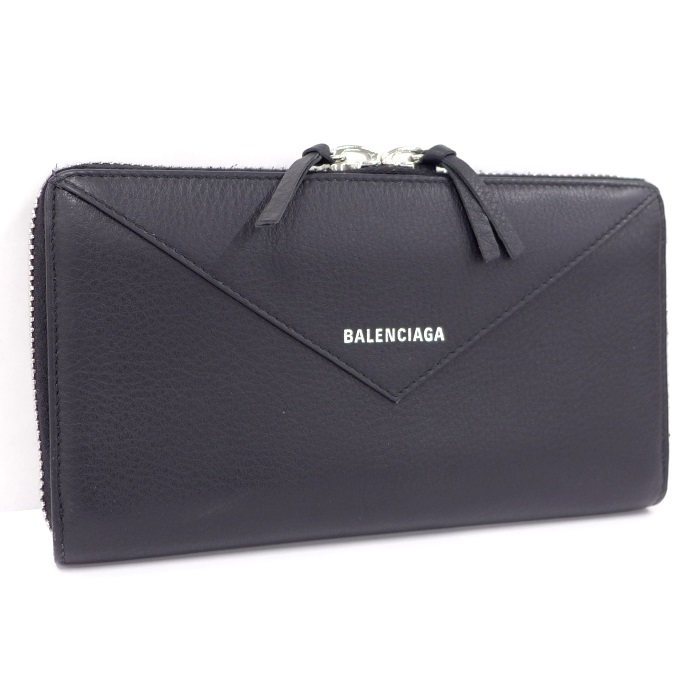 【中古】BALENCIAGA ペーパー ラウンドファスナー長財布 カーフレザー ブラック 381226DLQ0N1000