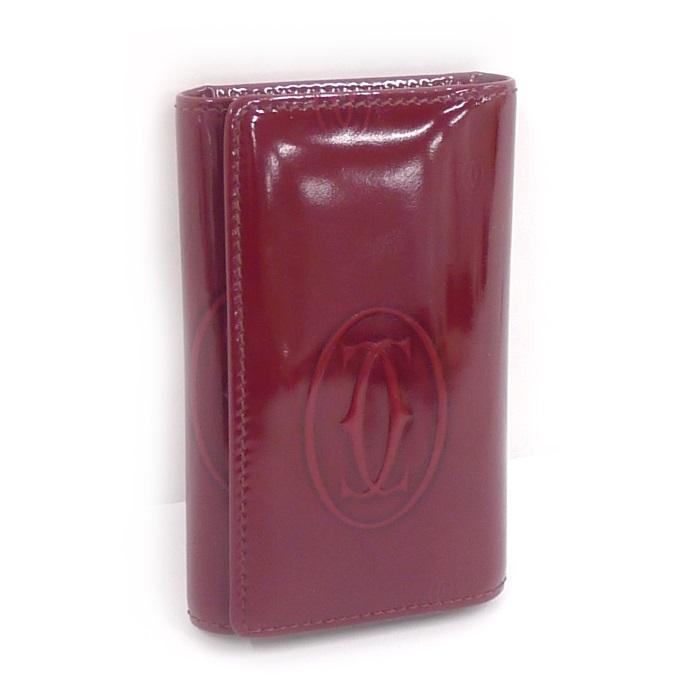【中古】 Cartier 6連キーケース ハッピーバースディ ボルドー(ワインカラー) エナメル レザー L3000929