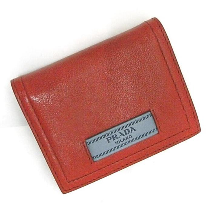 【中古】PRADA コンパクトウォレット 二つ折り財布 レザー レッド 1MV204