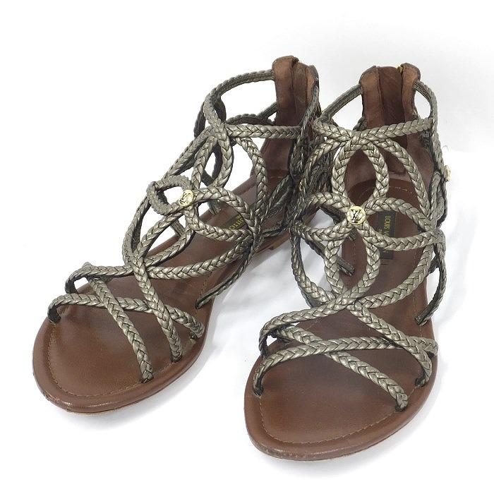 ルイヴィトン 【ladies】【shoes】 【中古】LOUIS VUITTON サンダル グラディエーター レザー ブラウン系 表記サイズ:34