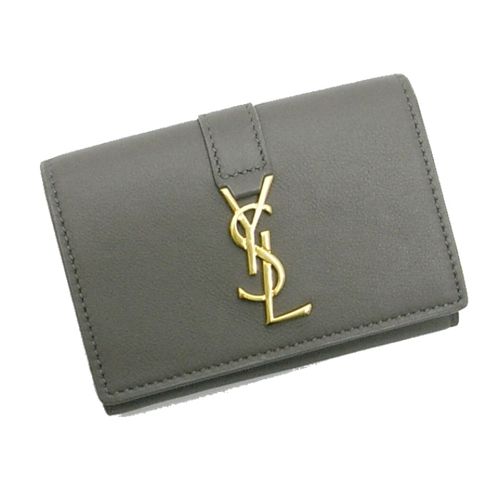 超美品 サンローランパリ 三つ折り財布 グレー系 レザー 459880, WAネットショップ 41df2f53