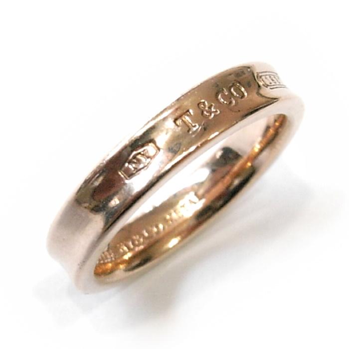 【中古】 Tiffany 1837 ナローリング ゴールド ルベドメタル 実寸:約13号