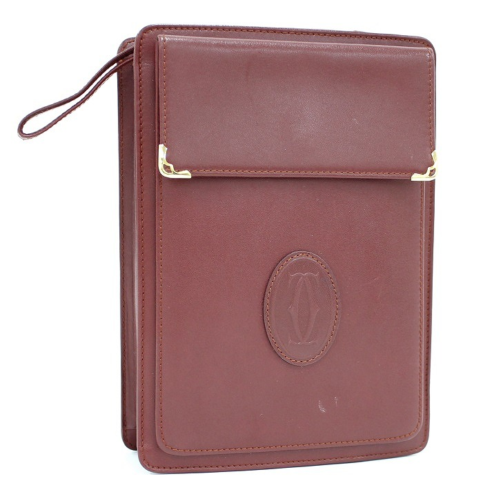 CARTIER ハンドバッグ クラッチバッグ 【中古】Cartier セカンドバッグ マストライン レザー ボルドー