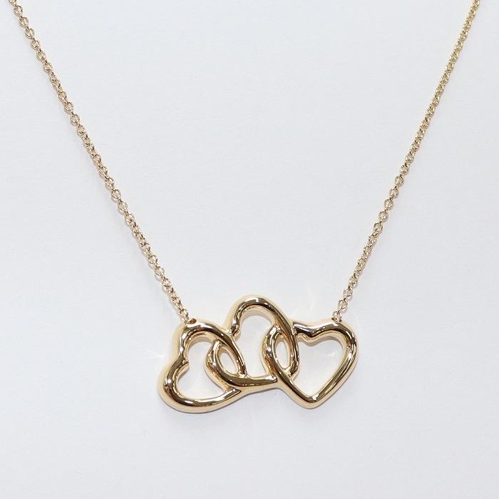 【中古】Tiffany トリプルハート ネックレス イエローゴールド 750YG 約5.0g