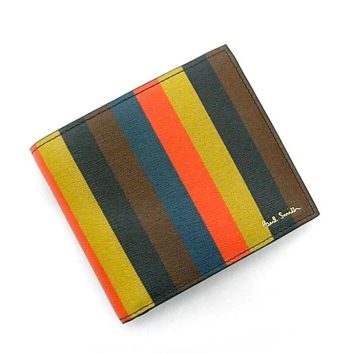 【中古】Paul Smith 二つ折り財布 ボーダー レザー マルチカラー A40023