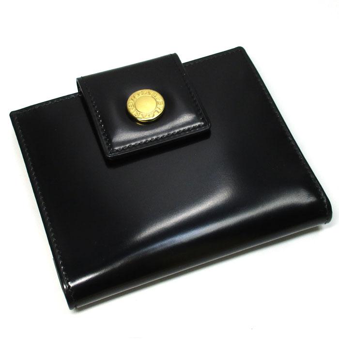 【中古】BVLGARI Wホック二つ折り財布 パテントレザー ブラック 20079
