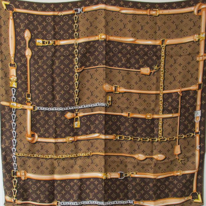 【中古】LOUIS VUITTON 大判スカーフ カレ モノグラム コンフィデンシャル マロン M78666