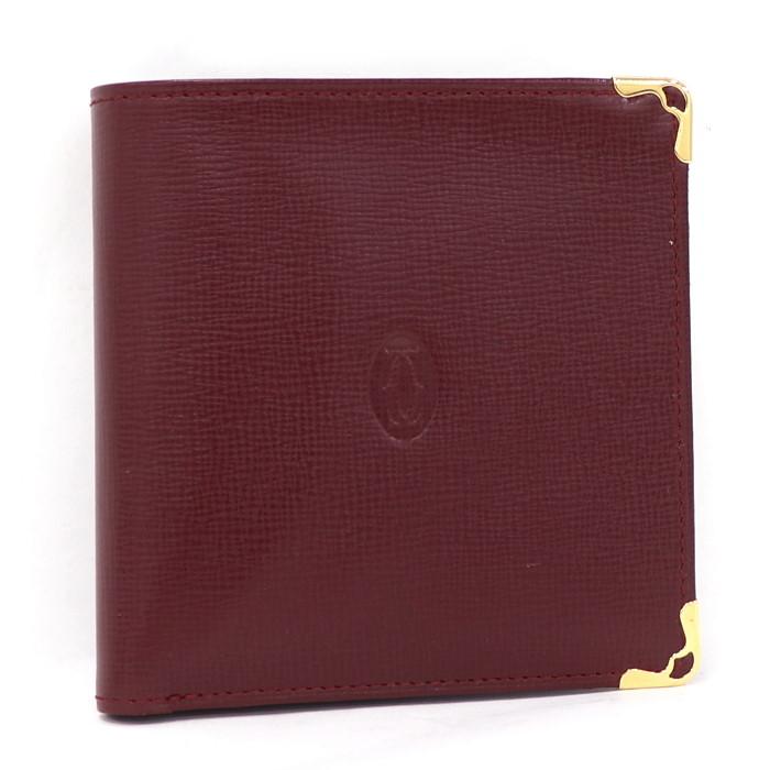 並行輸入品 カルティエ 二つ折り財布 美品 5☆好評 赤 中古 Cartier マストライン 10%off実施中 二つ折りコンパクト財布 L3000165 ボルドー