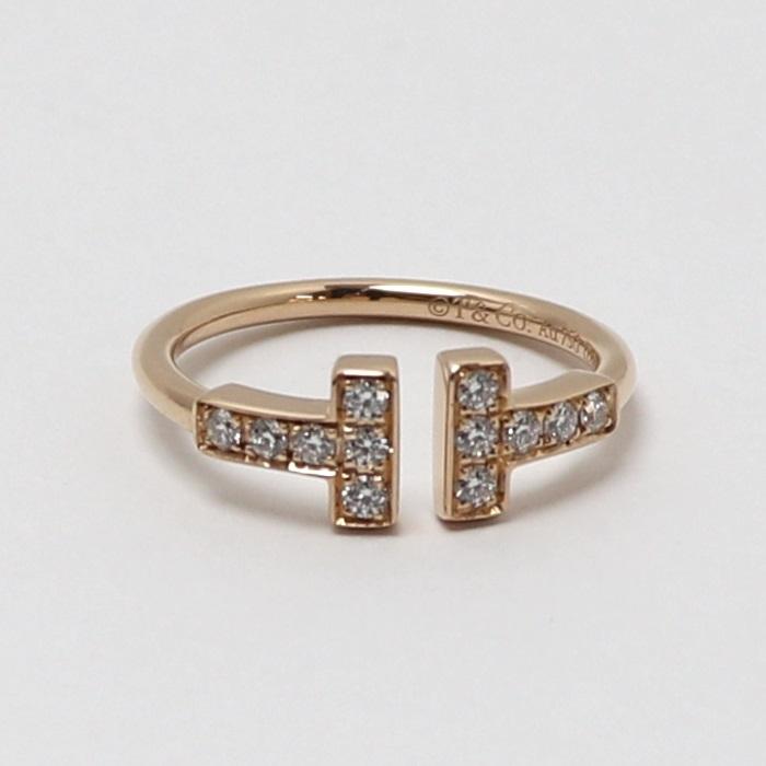 【中古】 Tiffany Tワイヤーリング K18 ピンクゴールド 750 PG ダイヤモンド