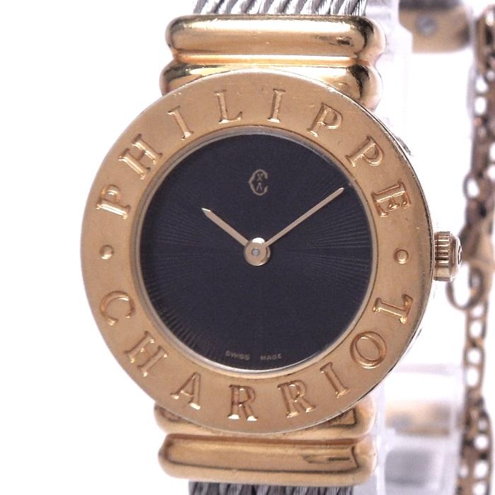 【中古】フィリップシャリオール サントロペ バングルウォッチ レディース腕時計 クォーツ SS/GP ブラック文字盤