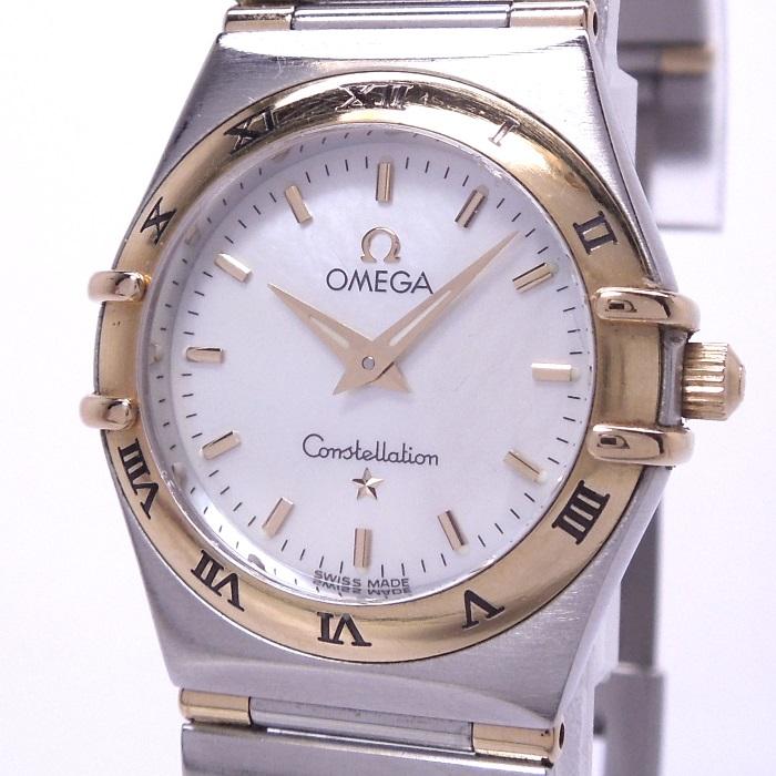 【中古】OMEGA コンステレーション ミニ レディース腕時計 クォーツ SS/K18YG シェル文字盤 1362.70