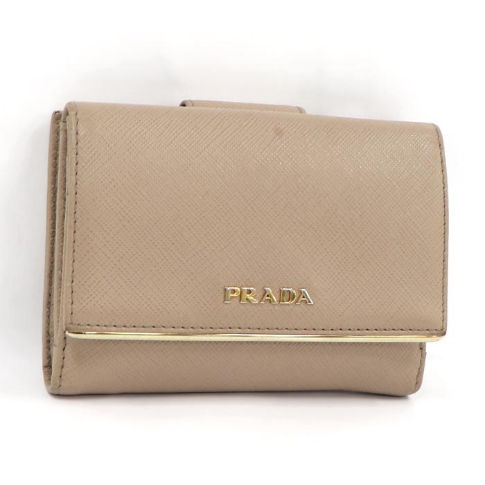 記念日 プラダ コンパクト 中古 PRADA Wホック 1MH523 二つ折り財布 サフィアーノレザー 全国一律送料無料 ベージュ
