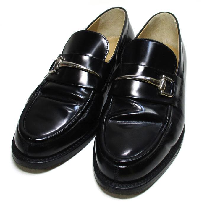 グッチ shoes 中古 GUCCI レディース ローファー 送料無料(一部地域を除く) ホースビット 受注生産品 エナメル ブラック シルバー 100 表記サイズ 35 1 0374 金具 2C