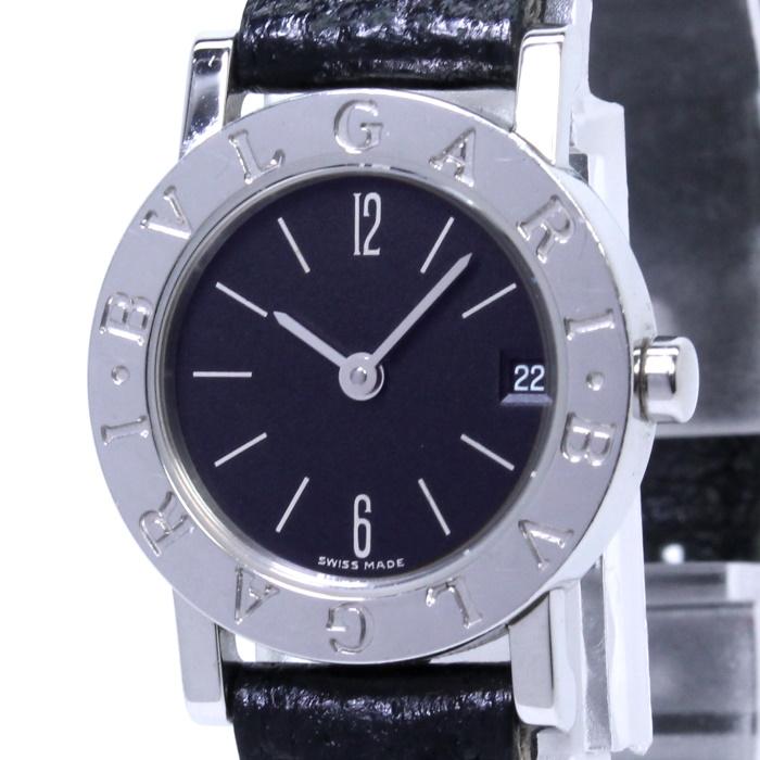 【中古】BVLGARI BVLGARIBVLGARI レディース腕時計 クォーツ デイト SS ブラック文字盤 BB23SLD