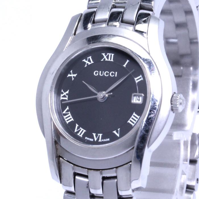 SS ブラック文字盤 レディース腕時計 デイト Gクラス 【中古】GUCCI 5500L クオーツ