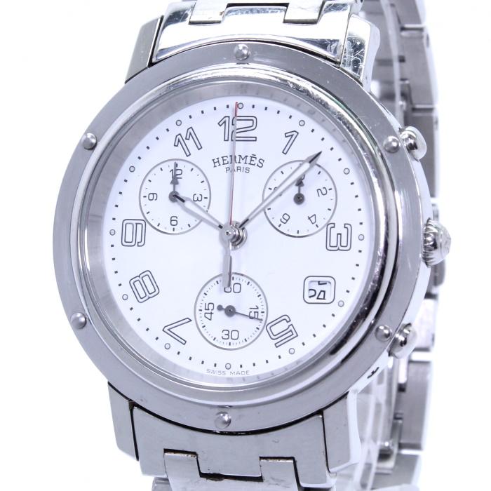デイト ホワイト文字盤 クロノグラフ クォーツ クリッパー SS メンズ腕時計 CL1.910 【中古】HERMES