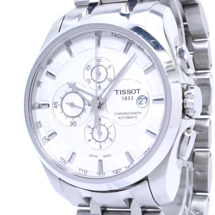 クチュリエ SS 自動巻き メンズ腕時計 T035.627.11.031.00 クロノグラフ ホワイト文字盤 【中古】ティソ