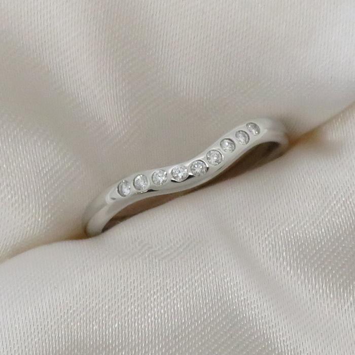 Tiffany Co. 超美品 指輪 アクセサリー 70%OFFアウトレット ジュエリー 中古 ティファニー 最安値に挑戦 リング Pt950 約3.1g ダイヤモンド プラチナ シルバー カーブバンド