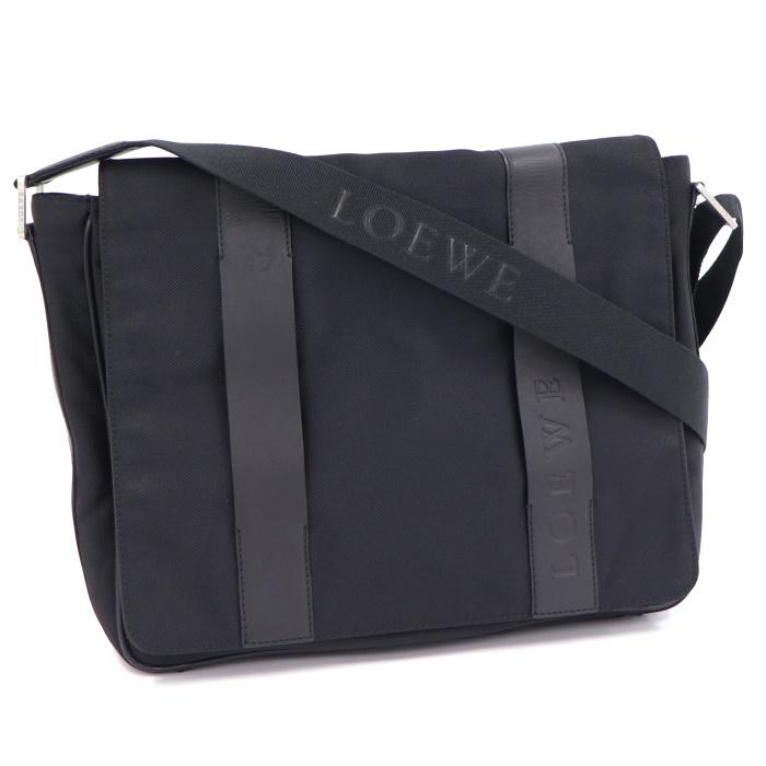 与え LOEWE 斜めがけバッグ 黒 中古 ロエベ ナイロン ブラック メッセンジャーバッグ 買い物