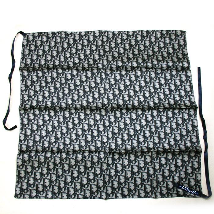 Christian Dior ミニスカーフ Apparel 超美品 SEAL限定商品 中古 クリスチャンディオール 流行 リボン シルクスカーフ ラインストーン シルク100% ネイビー トロッター ロゴプレート付き