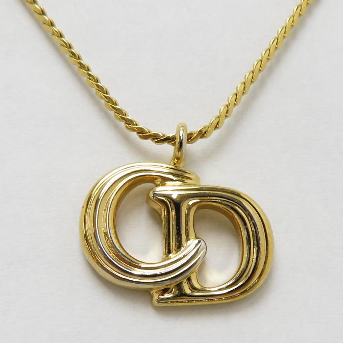 Christian Dior ネックレス 中古 贈答 クリスチャンディオール メタル ペンダント ロゴマーク 未使用 ゴールド