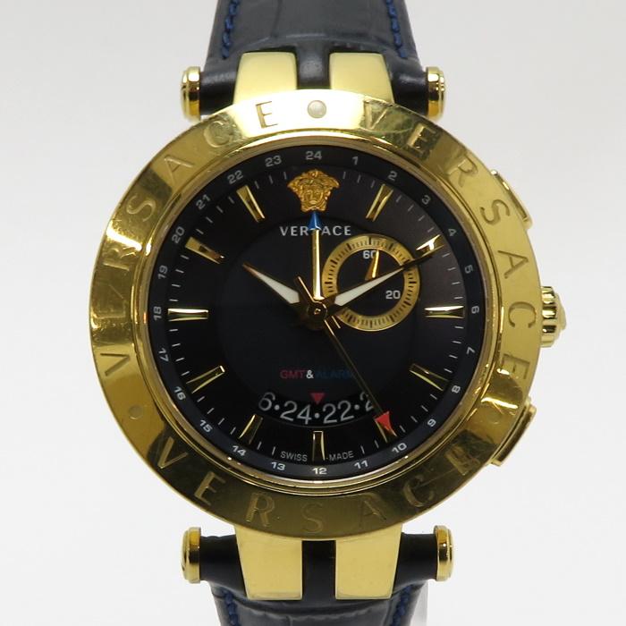 VERSACE V-RACE Watch 誕生日 お祝い メンズ 中古 ヴェルサーチ 訳あり商品 メンズ腕時計 Vレース GMT レザー クオーツ ネイビー文字盤 S282 SS 29G70D282