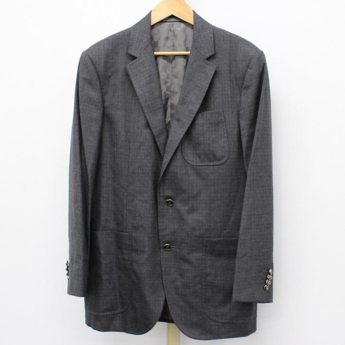 買い物 ルイヴィトン ダミエ 中古 LOUIS VUITTON シングル メンズ 表記サイズ54 公式ストア テーラードジャケット グレー