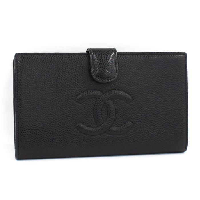 シャネル 美品 中古 CHANEL 二つ折り がま口 公式ストア ブラック 日本全国 送料無料 財布 キャビアスキン ココマーク A13498