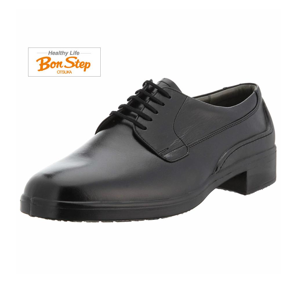ボンステップ(Bon Step) メンズ 靴 ビジネスシューズ プレーントウ品番2207 色クロ 幅広4E 定番 レースアップシューズ 撥水加工 大塚製靴