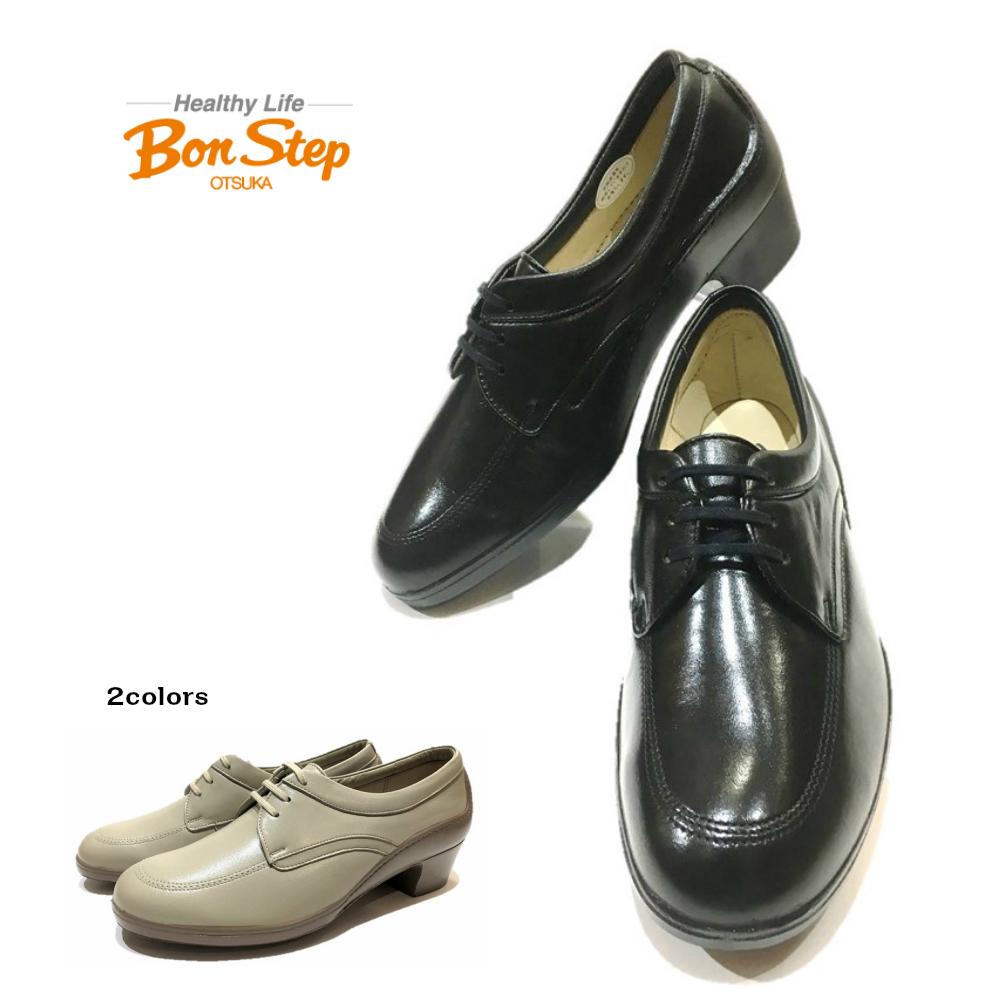 ボンステップ(Bon Step) 靴 レディース パンプス 幅3E 品番5771 色クロ ベージュ 定番レースアップパンプス大塚製靴 日本製