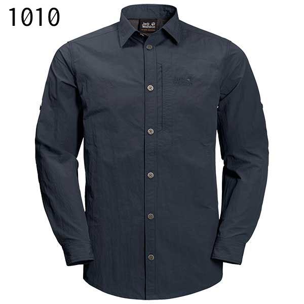 ○ジャックウルフスキン W1402821_1010・レイクサイドロールアップシャツ メンズ(ナイトブルー)