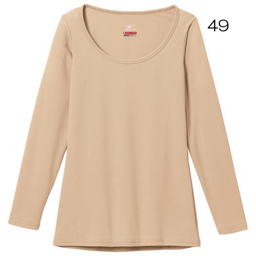 ○ミズノ(W)C2JA5801・ブレスサーモ エブリ ラウンドネック長袖シャツ(レディース)