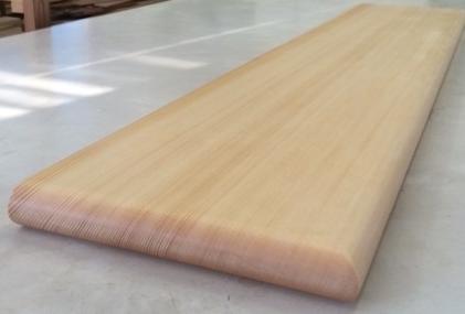☆無垢板☆スプルスハギ材、棚板、カウンター板Arbor針葉樹白木用オイルワックス塗装済3方R丸面取りカウンター板厚み3cm、巾60cm、長さ100cm