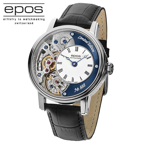 国内正規品エポスEPOS 3435HSKRBL LTD888「スケルトン腕時計」 「手巻き」美しいスケルトン 裏秒針あり【世界限定888本】