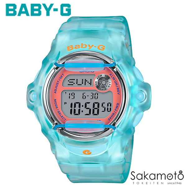 国内正規品カシオ Baby-G 90sカルチャーをテーマにしたモデルの登場 ブルー オレンジ文字盤 スケルトン 20気圧防水 デジタル レディース 腕時計 【BG-169R-2CJF】