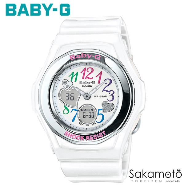 国内正規品カシオ Baby-G フェイスのハート型デザインが人気のBGA-101シリーズから、デザインはそのままに液晶表示を改善した後継モデルが登場 ホワイト ベビージー レディース腕時計 女性用【送料無料】【BGA-101-7B2JF】